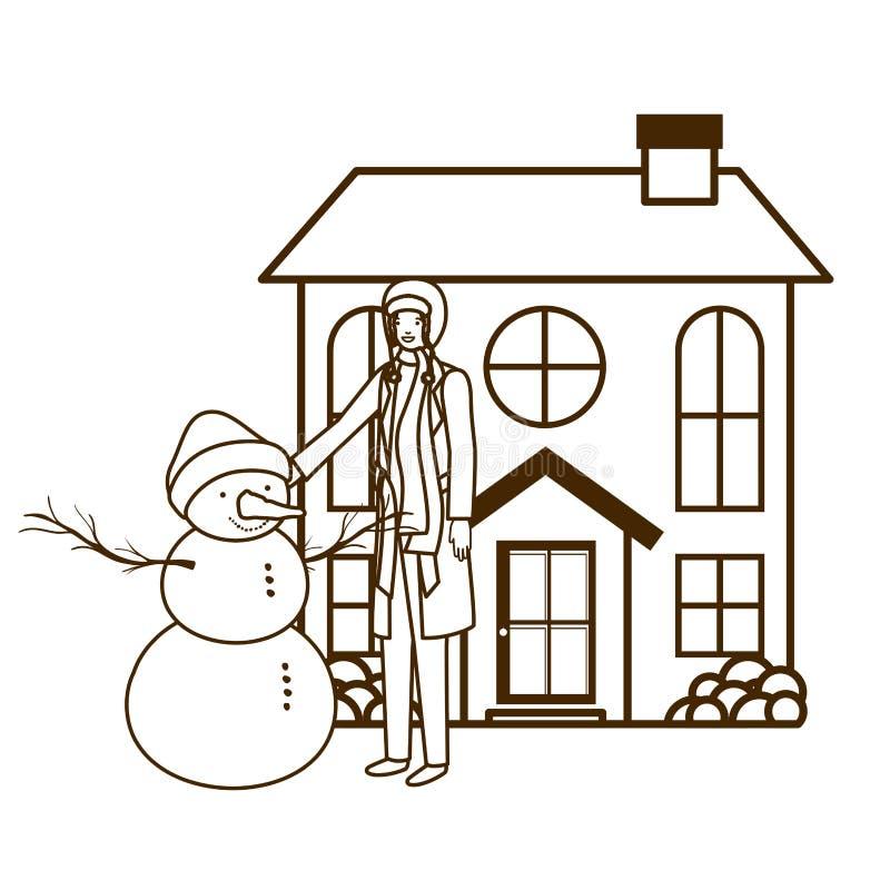 Mens met sneeuwman buiten het huis stock illustratie