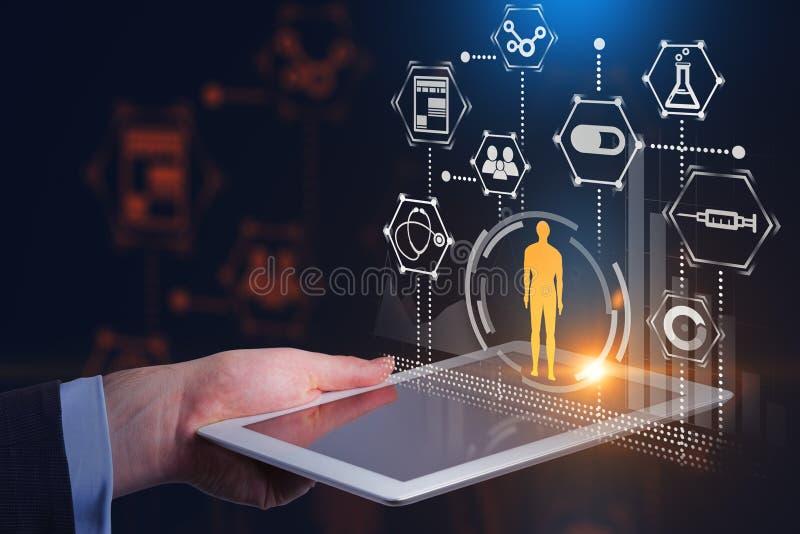 Mens met tablet, gele medische interface royalty-vrije illustratie
