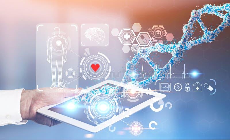 Mens met tablet, medisch HUD, DNA stock illustratie