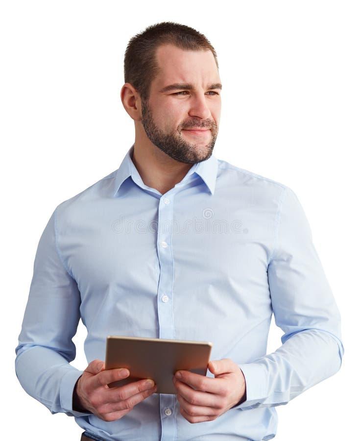 Mens met tablet op witte achtergrond wordt ge?soleerd die stock foto's
