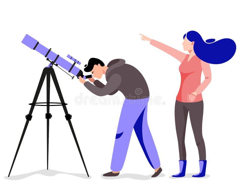 Mens met telescoop op zoek naar een ster royalty-vrije illustratie