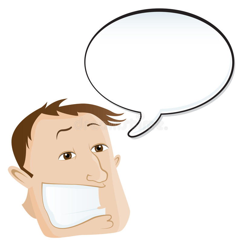 Mens met toespraakbel stock illustratie