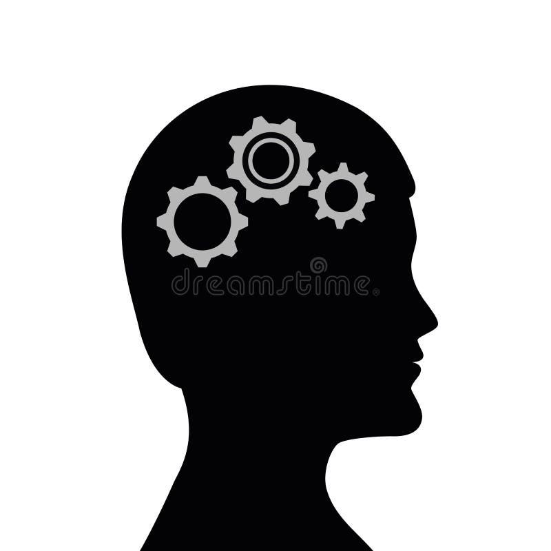 Mens met toestellen in het hoofd bedrijfssymboolgroepswerk vector illustratie