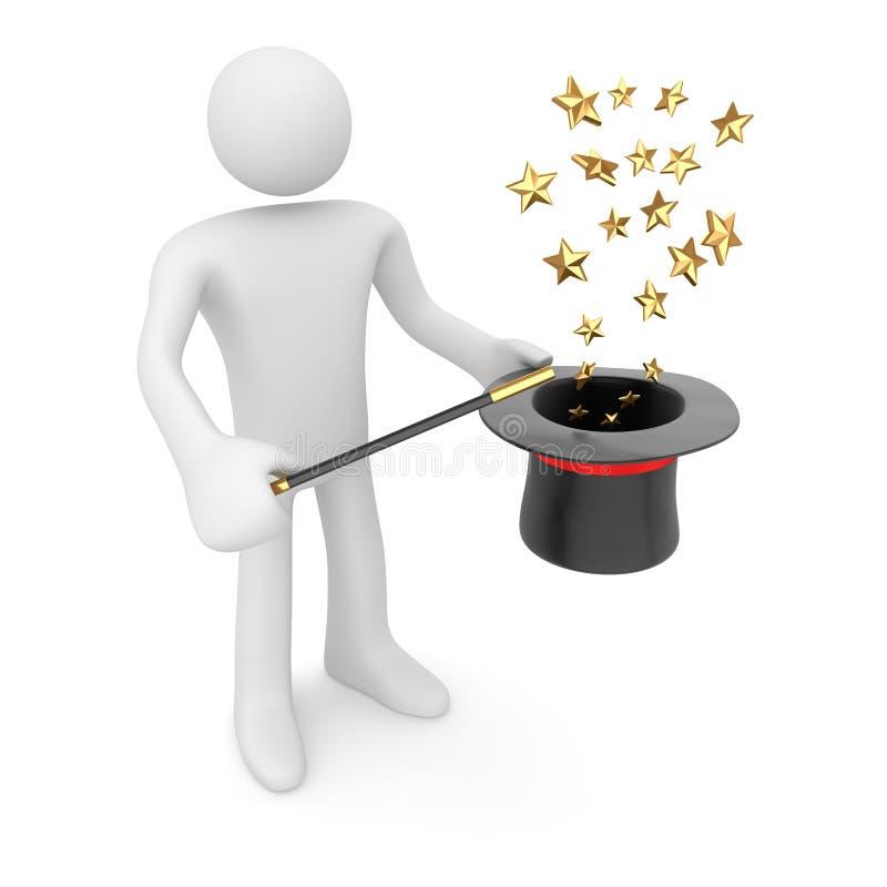 Download Mens Met Tovenaar Hat En Toverstokje Stock Illustratie - Illustratie bestaande uit tovenaar, illusie: 107704608