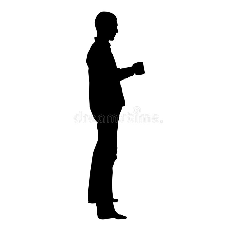 Mens met van de de kleuren vectorillustratie van het mok bevindend pictogram zwart vlak de stijlbeeld royalty-vrije illustratie