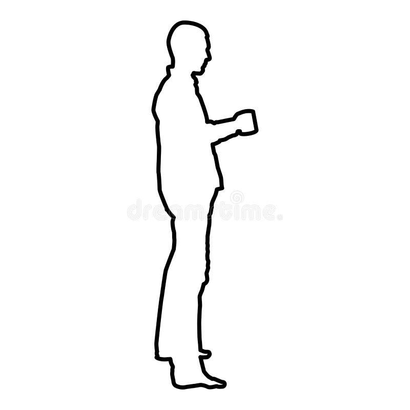 Mens met van de de kleuren vectorillustratie van het mok bevindend pictogram zwart vlak de stijlbeeld vector illustratie