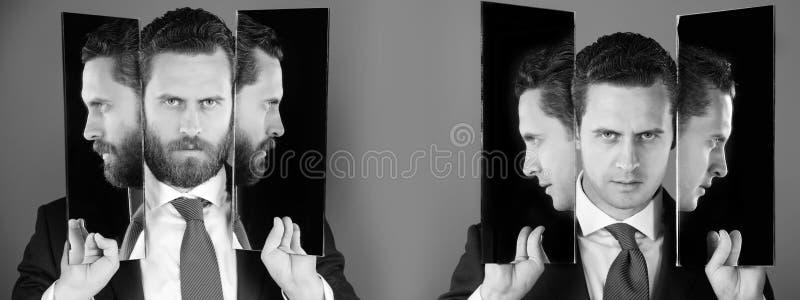 Mens met vele gezichten en profielen in spiegels royalty-vrije stock foto