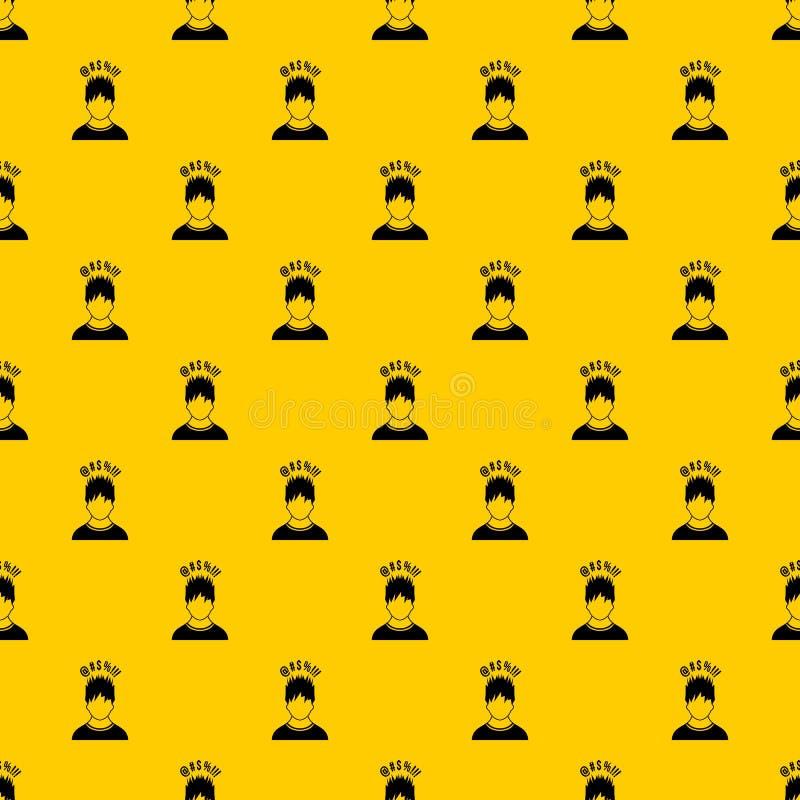 Mens met verschillende tekens over zijn hoofdpatroonvector stock illustratie