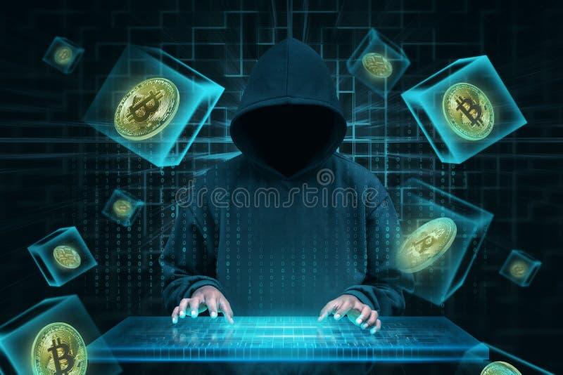 Mens met virtueel toetsenbord die bitcoin netwerk proberen te binnendringen in een beveiligd computersysteem royalty-vrije stock afbeelding