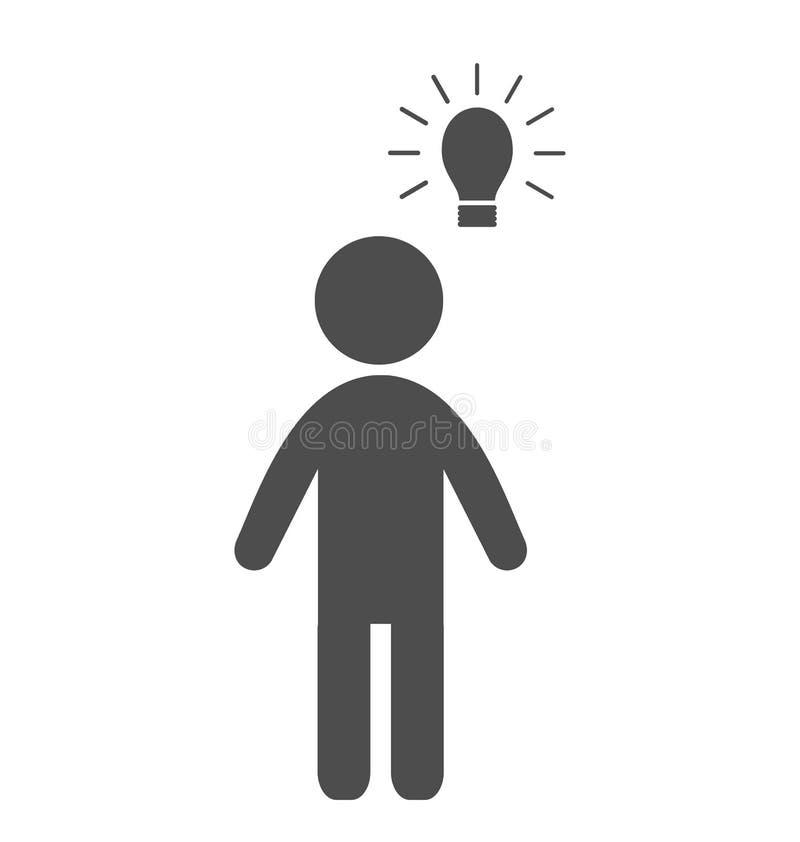 Mens met vlak het pictogrampictogram van de ideelamp op wit royalty-vrije illustratie
