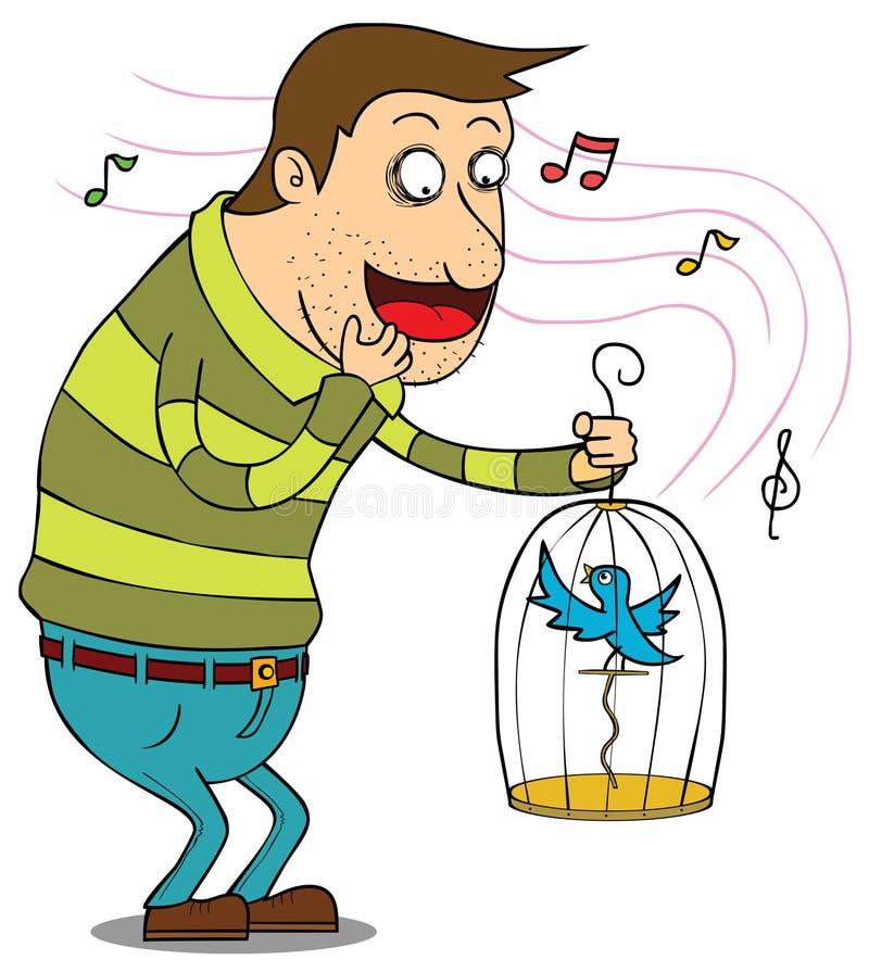 Mens met vogel in kooi vector illustratie