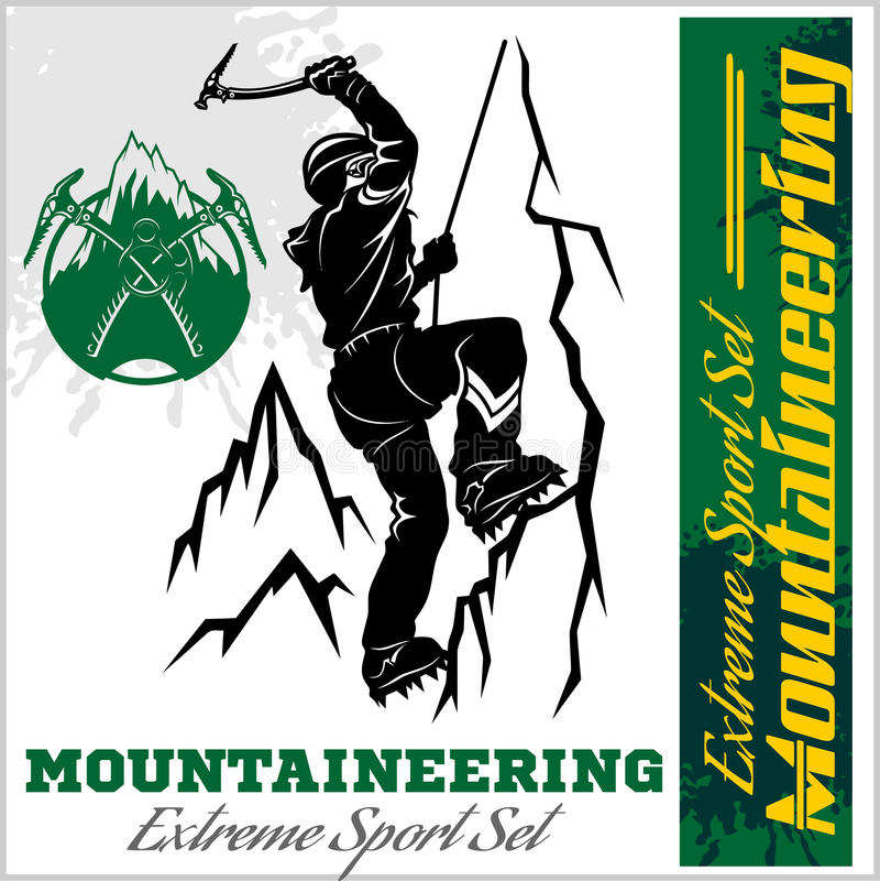 Mens met zak op de ijsrots Extreme openluchtsporten Het beklimmen van de bergen Vector illustratie vector illustratie