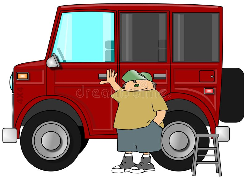 Mens met Zijn Grote SUV stock illustratie