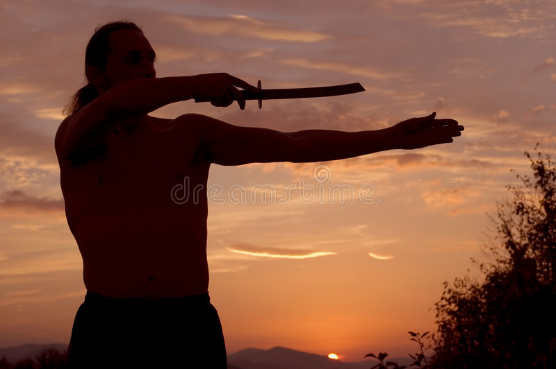 Mens met zwaard stock afbeelding