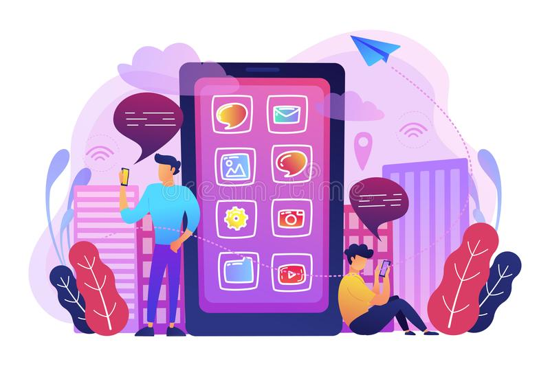 Social media and news tips, smart city concept illustration. A mens near huge smartphone with application icons on the screen checking social media and news royalty free illustration