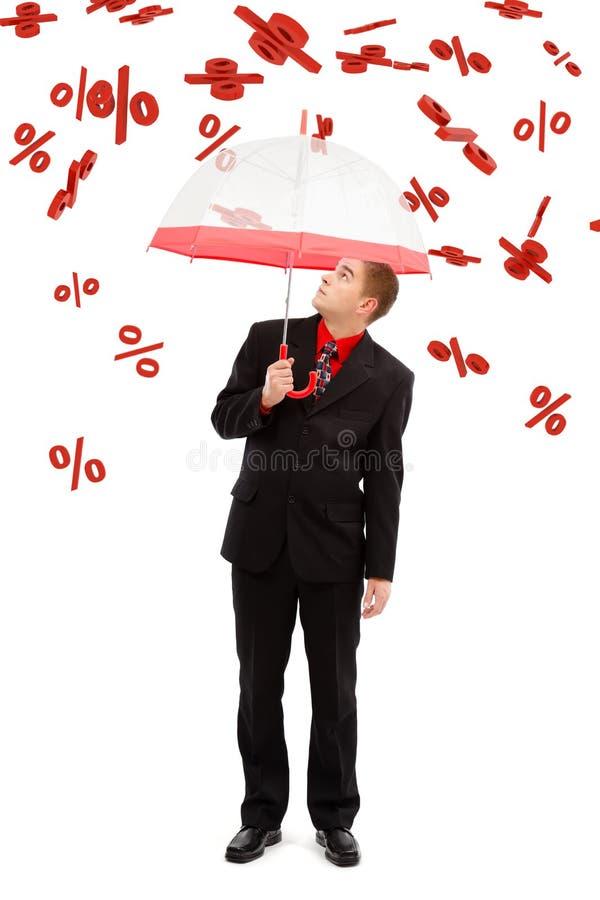Mens onder het vallen percents stock foto
