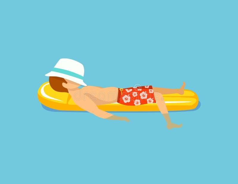 Mens ontspannen die in pool op opblaasbare matras zwemmen vector illustratie