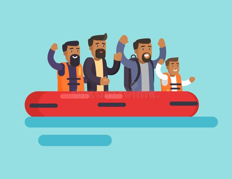 Mens op Boot voor Veiligheid, Vectorillustratie vector illustratie