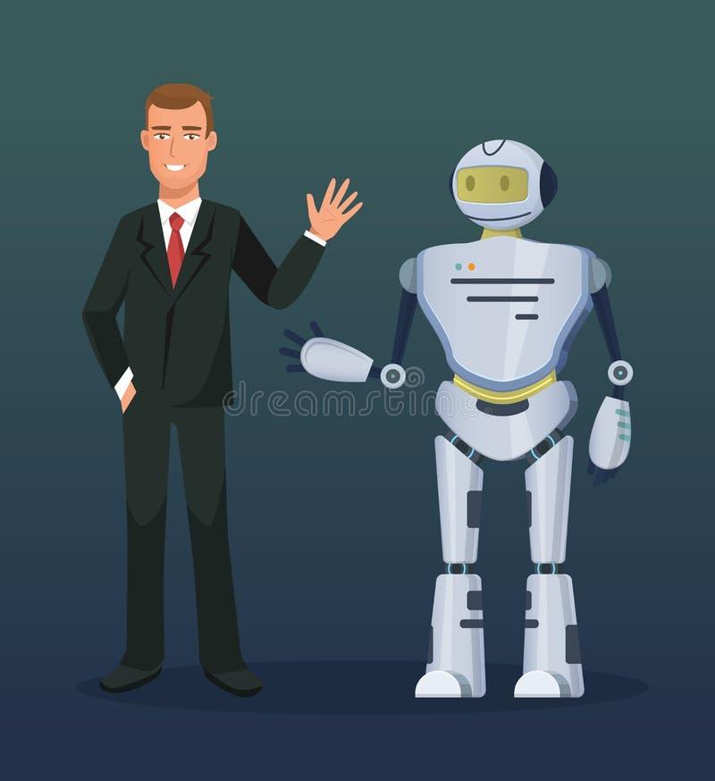 Mens op conferentie, presentatie van elektronische mechanische robot, bot, humanoid stock illustratie