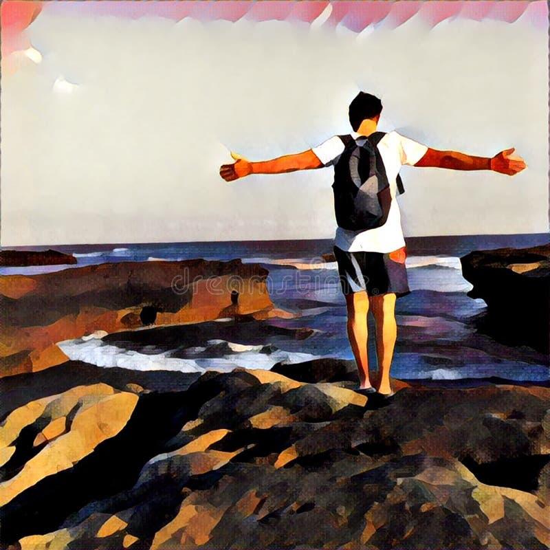 Mens op de rand van de klip door het overzees De open wapens stellen Hemel en oceaanlandschap in gewaagde het schilderen stijl vector illustratie