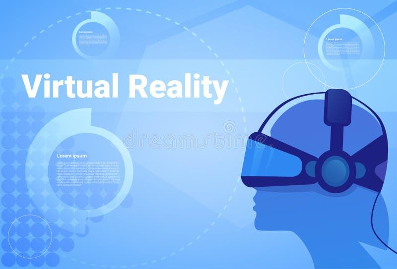 Mens op de Virtuele Achtergrond van de Werkelijkheidshoofdtelefoon met Exemplaar Ruimtehoofd die Vr-Concept van de Beschermende b royalty-vrije illustratie