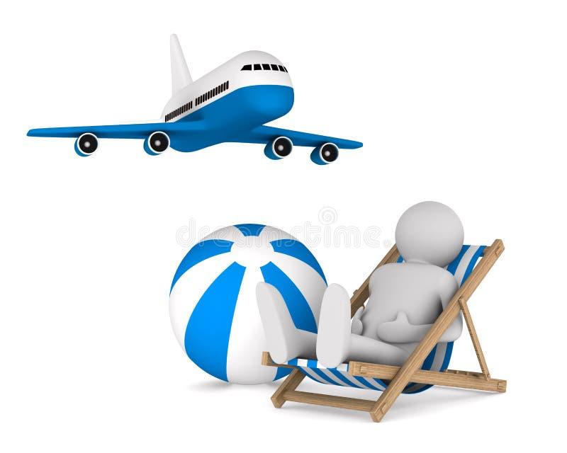 Download Mens Op Deckchair En Bal Op Witte Achtergrond Stock Illustratie - Illustratie bestaande uit recline, lijnvliegtuig: 39117405