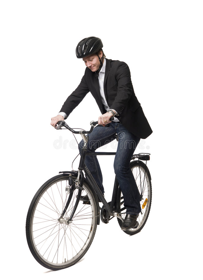 Mens op een fiets stock afbeeldingen