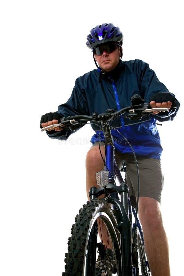 Mens op een fiets van de Berg royalty-vrije stock afbeeldingen