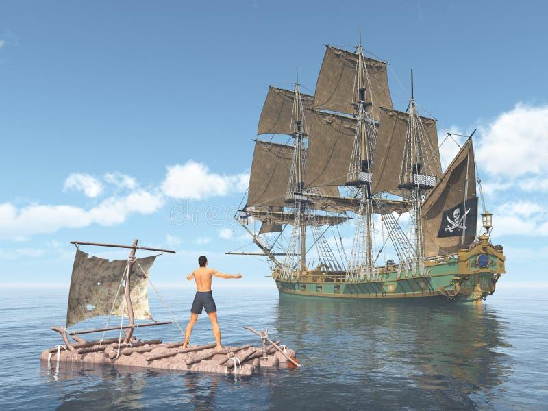 Mens op een vlot en piraatschip royalty-vrije illustratie