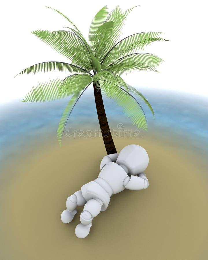 Mens op eiland onder een palm stock illustratie