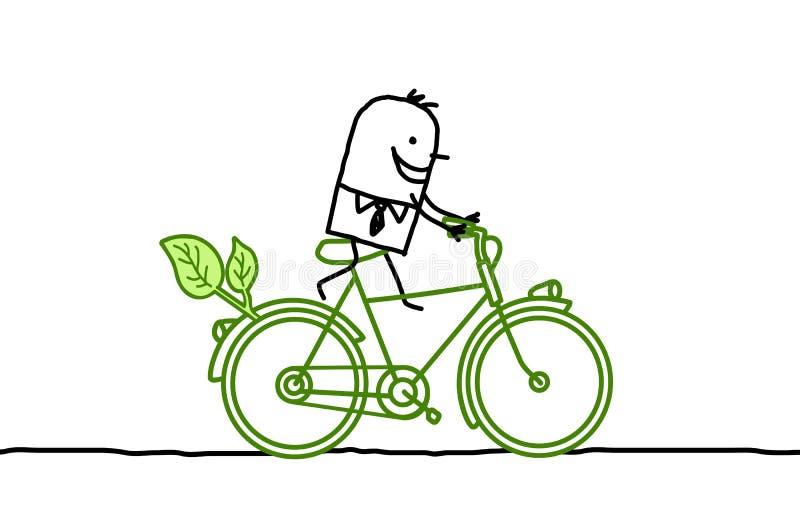 Mens op fiets royalty-vrije illustratie