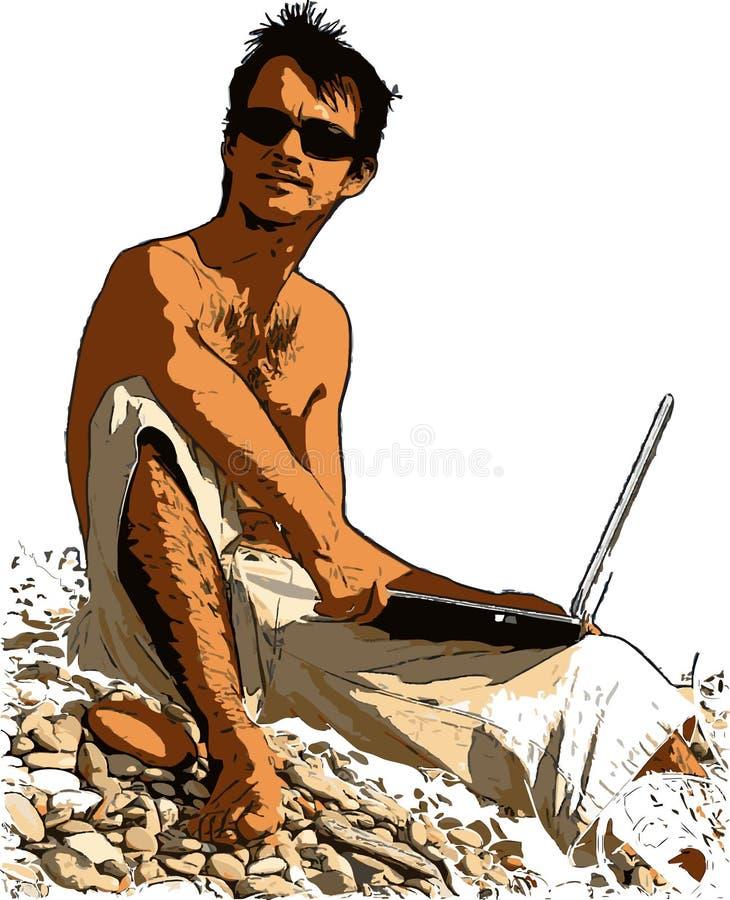 Mens op het strand vector illustratie