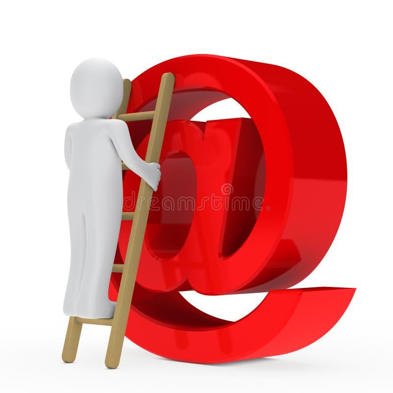 Mens op laddere-mail teken vector illustratie