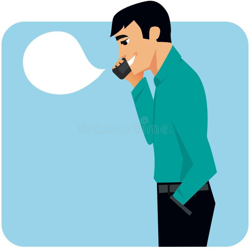 Mens op mobiel royalty-vrije illustratie