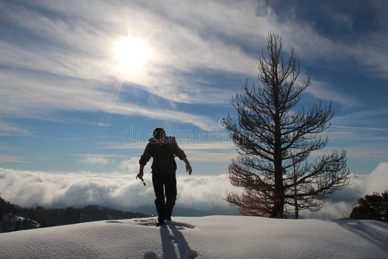 Mens op Orjen-berg stock afbeeldingen