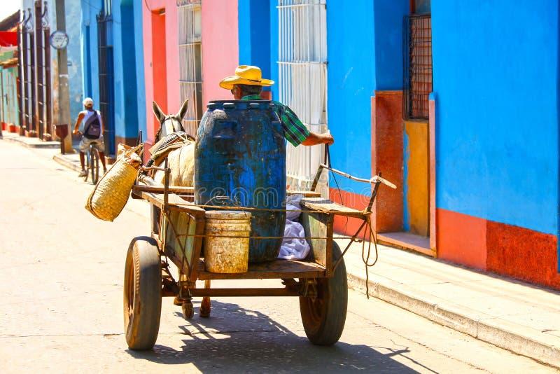 Mens op paard getrokken kar op de straat van Trinidad, Cuba stock foto's