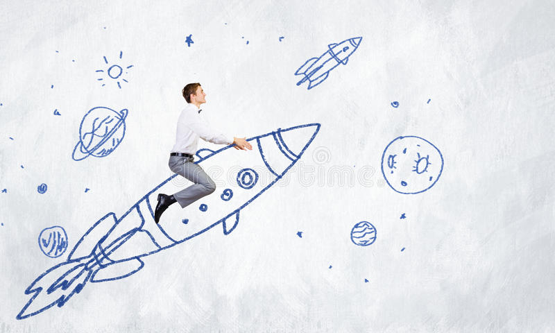 Mens op raket vector illustratie