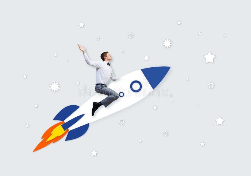 Mens op raket stock illustratie