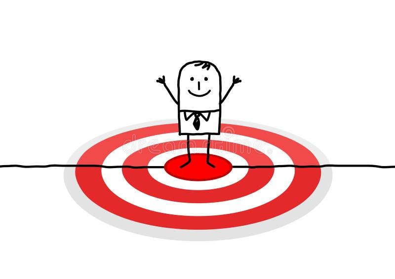 Mens op rood doel stock illustratie