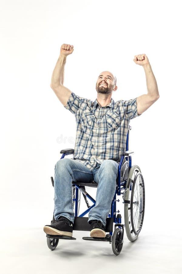 Mens op wheelschair stock foto