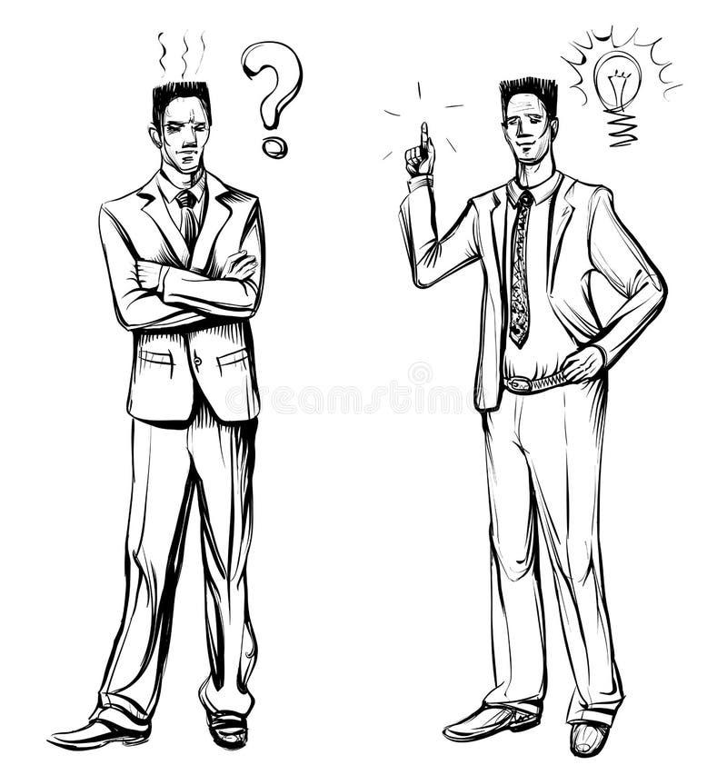 Mens in pak, hand getrokken vector Ideeconcept met de mens en lightbulb royalty-vrije illustratie