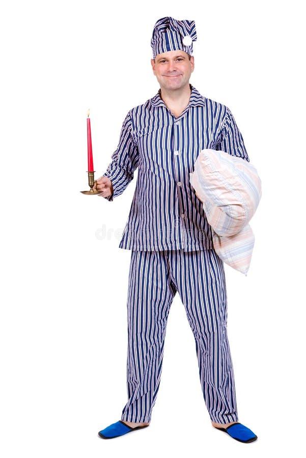 Mens in pyjama's royalty-vrije stock fotografie