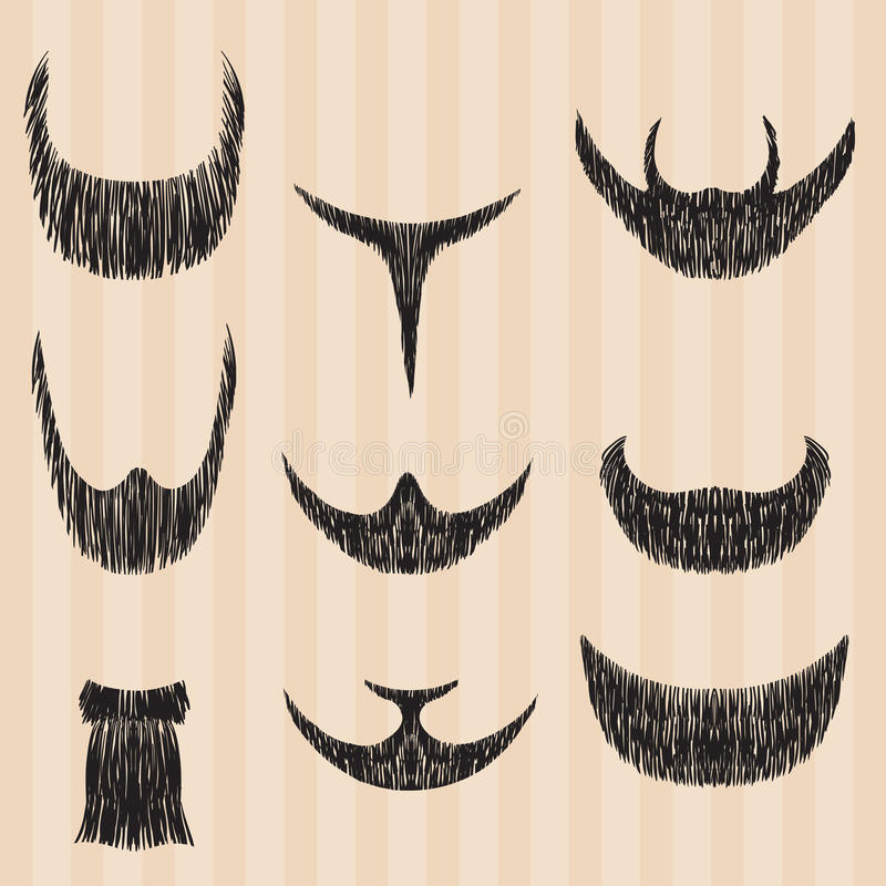 Free Mens Retro Collection Of Hair Styling Beard Stock Image - 49381231