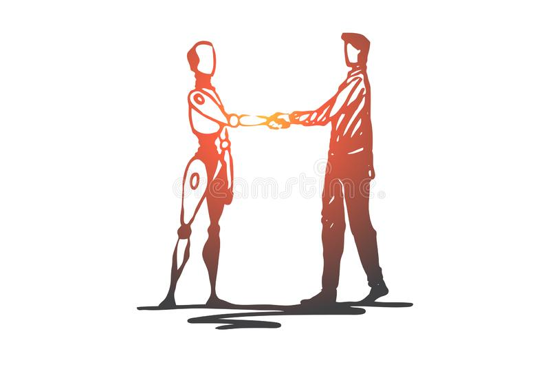 Mens, robot, toekomst, machine, technologieconcept Hand getrokken ge?soleerde vector vector illustratie