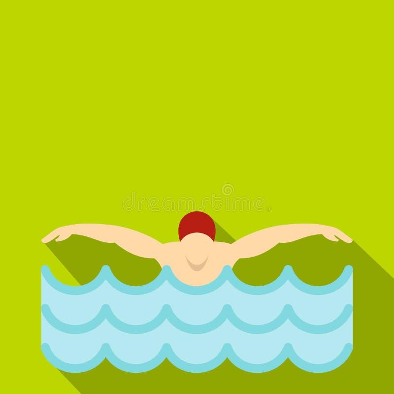 Mens in rood GLB in zwembadpictogram, vlakke stijl royalty-vrije illustratie