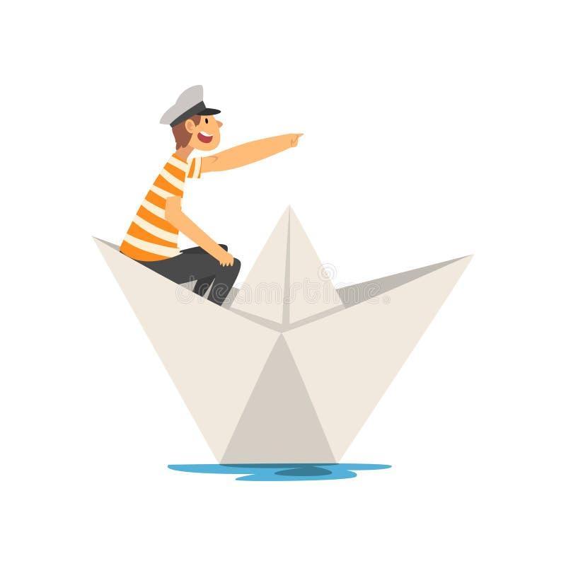 Mens in Rood Wit Gestreept T-shirtroeien op Rivier, Meer of Vijver in Document Boot Vectorillustratie stock illustratie