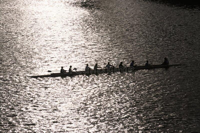 Mens rowing team stock image