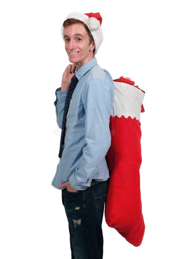 Mens in Santa Hat stock fotografie