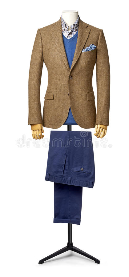 Mens suit isolated on white with clipping path royalty free stock image