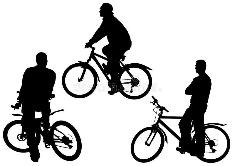 Mens sulle biciclette illustrazione di stock